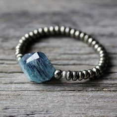 Kyanite Pyrite 14k White Gold Bracelet / BeadworkBright Blue Gold Natural Stone, Teal Aqua Deep Sea Blue, Boho Gemstone Statement Bracelet