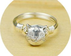 Cat Ring- Sterling Silver Filled Wire Wrap Ring with Pewter Cat Bead - Any  Size 4, 5, 6, 7, 8, 9, 10, 11, 12, 13, 14