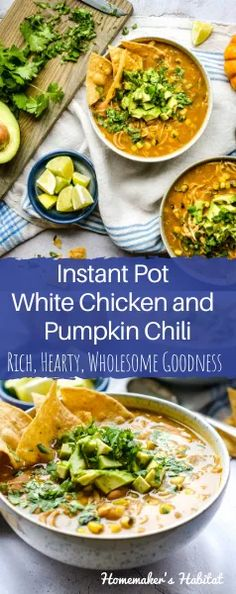 This delicious white chicken chili is extra rich, hearty and healthy thanks to the addition of fire-roasted corn and canned pumpkin. Comes together in under an hour in an Instant Pot.