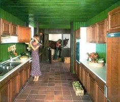 A stable adjoins the kitchen… 1970s interior design.