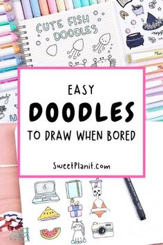 Are you bored? Draw something! Here are EASY doodle ideas to draw when bored for anytime/anyplace doodling. Use this list so you never run out of doodle ideas! Cute Easy Doodles, Easy Doodles Drawings, Easy Doodle Art, Doodle Doodle, Doodle Art Drawing, Drawing Ideas, Doodle Art For Beginners, Cute Fish, Things To Do When Bored