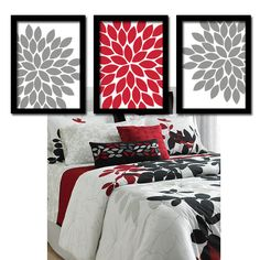 2pc Red Black Gray Geometric Squares Wall Sculpture Hanging Over ...