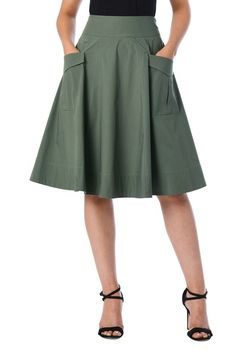 Cargo pockets add utilitarian charm to our cotton poplin skirt cut with a banded waist and full flare silhouette. Cargo pockets add utilitarian charm to our cotton poplin skirt cut with a banded waist and full flare silhouette. Skirt Outfits, Dress Skirt, Midi Skirt, Dress Up, Travel Skirt, African Fashion, Ready To Wear, Fashion Outfits, Fashion Blouses