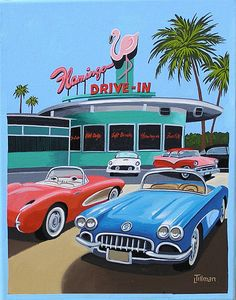 DRIVE-IN 1950s Corvette parked in front of the iconic Flamingo Drive-In. Mid century modern living. This is a limited edition (200 prints) print by