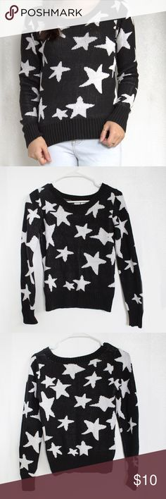 B&W Star Pattern Sweater Black and White Star Pattern Sweater. Gently used - only worn a few times. Some small tags on stars visible but otherwise in great condition. Size medium but fits more like a small. SO Sweaters Crew & Scoop Necks