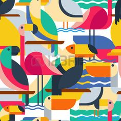 cartoon flamingo: Seamless pattern with tropical birds. Vector flat background with toucan, cockatoo parrot, flamingo and pelican. Design concept for fabric design, textile print, wrapping paper or web backgrounds.