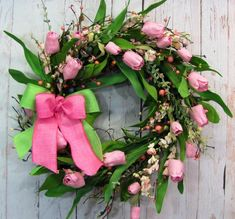 Spring Wreath - Easter Wreaths - Pink Tulip Berry Wreath - Spring Door Decor - Primitive Wreath - Easter Wreath - Pip Berry Wreath - by Designawreath on Etsy Tulip Wreath, Berry Wreath, Floral Wreath, Easter Wreaths, Holiday Wreaths, Primitive Wreath, Diy Spring Wreath, Spring Door, Deco Floral