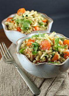 Authentic Suburban Gourmet: {Quinoa Salad with Zucchini, Arugula, Tomatoes and Mint Vinaigrette }