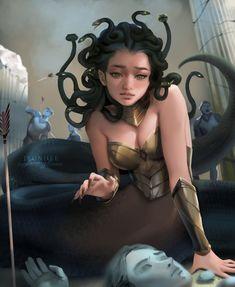 """Bounty"" - A villain or a victim? I heard about her origin in my Greek mythology class that I took back in high school. Dark Fantasy Art, Fantasy Artwork, Medusa Art, Medusa Gorgon, Fantasy Character Design, Character Inspiration, Character Art, Mythological Creatures, Mythical Creatures"