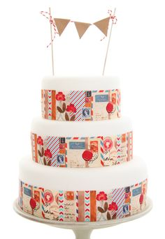Edible Cake Icing Paper Strips for DIY vintage Airmail Travel theme wedding cake by In the Treehouse 3