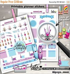 60%OFF - Manicure Stickers, Printable Planner Stickers, Beauty Stickers, Erin Condren, Kawaii Stickers, Planner Accessories, Nail Art, Nail