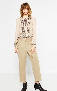 c9e7878345 Image 1 of EMBROIDERED FRILLED TOP from Zara Trousers Women