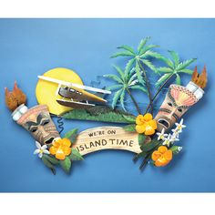 tropical art ~ We're on Island Time Metal Wall Sculpture ~ Sporty's Wright Bros Metal Wall Sculpture, Wall Sculptures, Metal Wall Art, Island Theme, Tropical Art, Room Themes, Nautical Theme, Wood Crafts, 3 D
