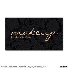 Modern Chic Black Lace Beauty Makeup Artist Business Card