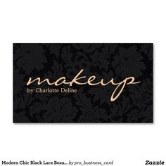 Modern Chic Black Lace Beauty Makeup Artist Business Card