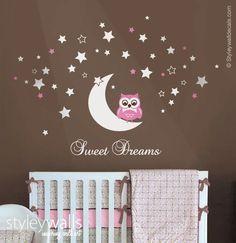 Hibou Wall Decal, hibou lune et étoiles Wall Decal, lettrage de vinyle Sweet…