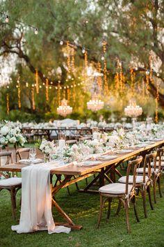 Romantic Wedding Receptions, Outdoor Wedding Reception, Outdoor Wedding Decorations, Romantic Weddings, Wedding Ceremony, Vintage Outdoor Weddings, Long Table Wedding, Vintage Decoration Wedding, Whimsical Wedding Decor