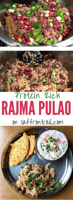 Recipe for Rajma Pulao Rice & beans combined provide all essential amino acids, making it a complete protein dish for vegetarians. Get this easy one-pot-dish recipe here! Skip the ghee to make it vegan. Jain Recipes, Indian Food Recipes, Ethnic Recipes, Indian Foods, Easy Healthy Dinners, Healthy Dinner Recipes, Cooking Recipes, Frugal Meals, Rajma Recipe