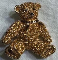 Gold-Pave-Swarovski-Crystal-TEDDY-BEAR-Pin-Brooch