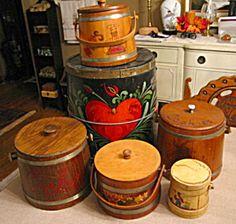 Vintage wood firkins for sale at More Than McCoy on TIAS!