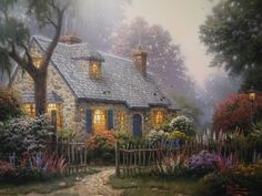 Foxglove Cottage 2006  by Thomas Kinkade