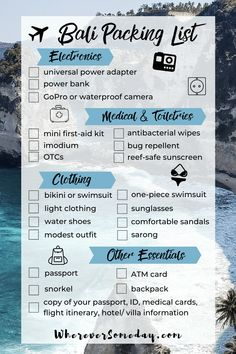 Wondering what to pack for Bali? Here you'll find the ultimate Bali packing list with all the essentials you need in your bag when you pack for Bali! Travel Advice, Travel Tips, Mini First Aid Kit, Atm Card, Bali Travel, Best Places To Travel, What To Pack, Packing Tips, Best Vacations