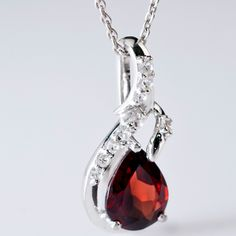 Vermelho #garnet with white #topaz #pendant in sterling #silver for $29.99.