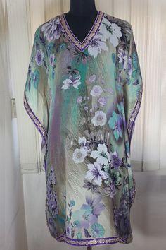 Enhance your beauty with designer Printed Grey Floral Kaftan.