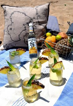 Mix together a recipe of Captain Morgan Pineapple Rum, lime juice, simple syrup, ginger beer and you got a Cabana Fever.