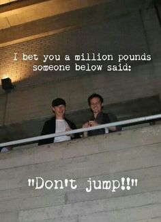 Benedict Cumberbatch & Andrew Scott. Picture taken by fans while the two were taking a break on the balcony outside the National Theatre, 01.11.13 - Hahaha, I was thinking the same sort of things when I saw these pictures.