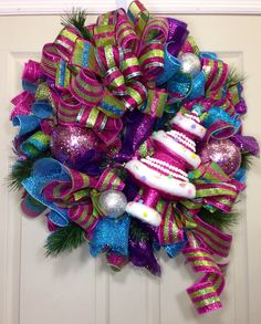 Candy Land Mesh Wreath by WilliamsFloral on Etsy, $95.00