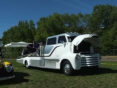 COE hauler . Chevy 5 window cab stretched on motorhome chassis