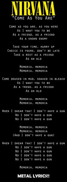 New quotes lyrics nirvana kurt cobain ideas Nirvana Quotes, Nirvana Logo, Nirvana Lyrics, Nirvana Kurt Cobain, Kurt Cobain Quotes, Papa Roach, Foo Fighters, Garth Brooks, New Quotes