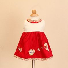 Jayden & Co Red Embroidery Floral Print Baby Dress [Mix 3 For RM 100]