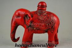 COLLECTIBLE DECORATE CHINA HANDWORK RED CORAL CARVED LUCKY ELEPHANT SNUFF BOTTLE