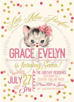 Kitty Cat Birthday Party Invitation Little by JamieEvelynPhoto, $15.00