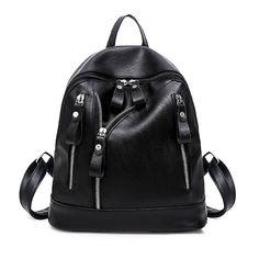 fb12a264e6e3 Fashion Faux Leather Zipper Decor Shoulder Bag Backpack Women Travel  Rucksack - Black - CO188N9IRNU -