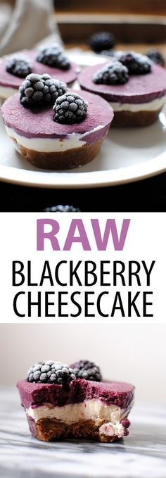Raw Blackberry Chees Raw Blackberry Cheesecakes are a healthy vegan gluten free dessert made with just 8 ingredients: coconut milk shredded coconut maple syrup dates walnuts cashews coconut oil and blackberries. Raw Vegan Desserts, Vegan Sweets, Healthy Dessert Recipes, Gluten Free Desserts, Healthy Desserts, Gourmet Recipes, Delicious Desserts, Raw Food Recipes, Raw Vegan Cake
