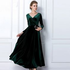 Mother of the Bride:  Emerald Long Velvet Party Formal Evening Gown