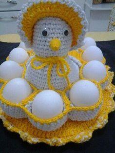 Lucro certo: Lindas Galinhas em CROCHÊ porta-ovos com gráfico
