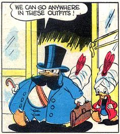 Donald's got his fat suit on HAHAHA! From Donald Duck and the Mummy's Ring by Carl Barks, September 1943.