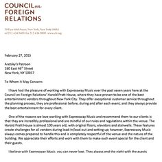 harold pratt house letter of recommendation about expressway music djs