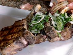 Grilled Pork Chops with Lemon Shallot Chutney from FoodNetwork.com