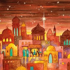 10 pack of Bethlehem Christmas cards x Christmas Scenes, Christmas Nativity, Christmas Pictures, Merry Christmas, Ramadan Decoration, Christmas Decorations, Nativity Silhouette, Christmas Paintings, Christmas Illustration
