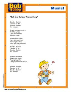 Discover all the machines from Fixham and Spring City! Bob the Builder fans can learn about all their favourite characters from the Bob the Builder TV series. Bob Music, Spring City, Bob The Builder, Theme Song, Get The Job, Parenting, Songs, Activities, Learning