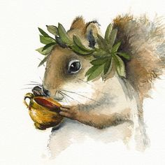 Beautiful little Greek Squirrel God of carnival, ritual madness, and joyful worship :)    Print of my original watercolor. (The original has been sold)      Image size: 7 1/2 x 8 inches  Paper size: 8 1/2 x 11 inches  Archival print printed with Epson Ultra Chrome pigment inks on Hahnemuhle Fine Art paper. The print looks very much like real watercolors.    Print will come signed and dated by the Artist and packed in a clear cello sleeve with cardboard to avoid bending in transit.      Thank…