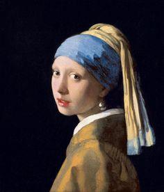 """Johannes Vermeer - """"La joven de la perla"""" (h. 1665-1667, óleo sobre lienzo, 46 x 40 cm, Mauritshuis, La Haya)  La joven de la perla de Vermeer es una de las mujeres más famosas de la historia del arte, sin embargo, a día de hoy seguimos sin saber..."""
