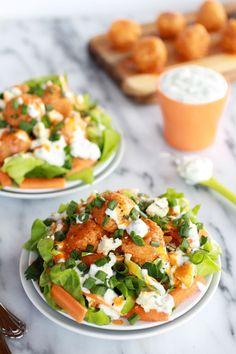 Crispy Buffalo Quinoa Bites Salad #recipe #healthy #quinoa