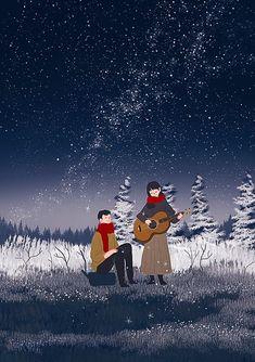 Winter Illustration, Love Illustration, Christmas Illustration, Cute Couple Drawings, Cute Couple Art, Anime Scenery Wallpaper, Of Wallpaper, Stock Design, Animated Love Images
