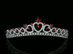 Bridal Red Rhinestone Crystal Heart Wedding Prom Princess Tiara Crown 8371   eBay